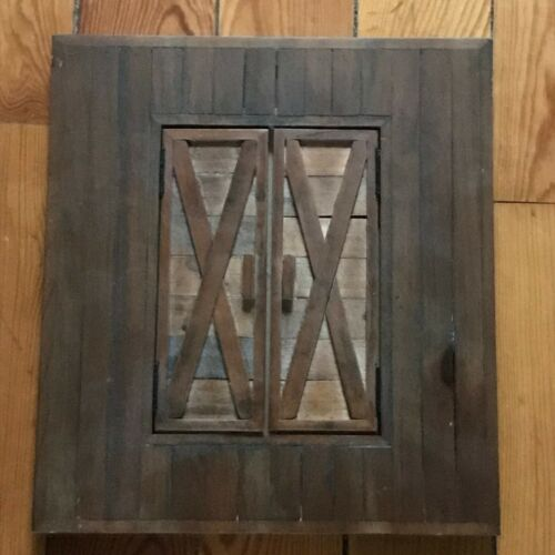 Gently Used Thick Brown Wood Picture Frame w Opening Doors to Reveal Picture –