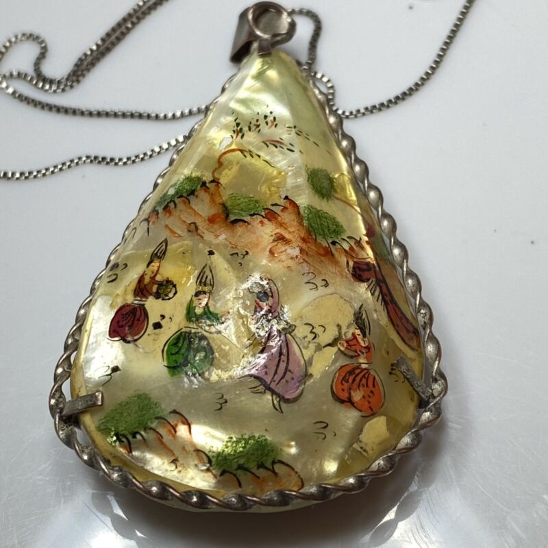 Vintage Persian MOP Hand Painted / Double Sided Pendant