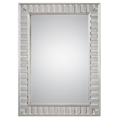 Dazzling Tiled Silver Wall Mirror | Vanity Framed Solid Wood Elegant Venetian