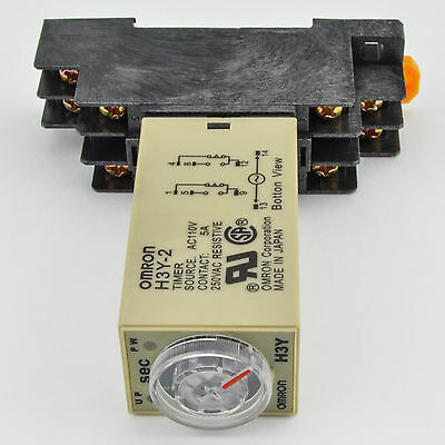1 Pc H3y-2 Omron 240vac Timer Relay Dpdt 8 Pin 5a 10 Sec With Socket Base