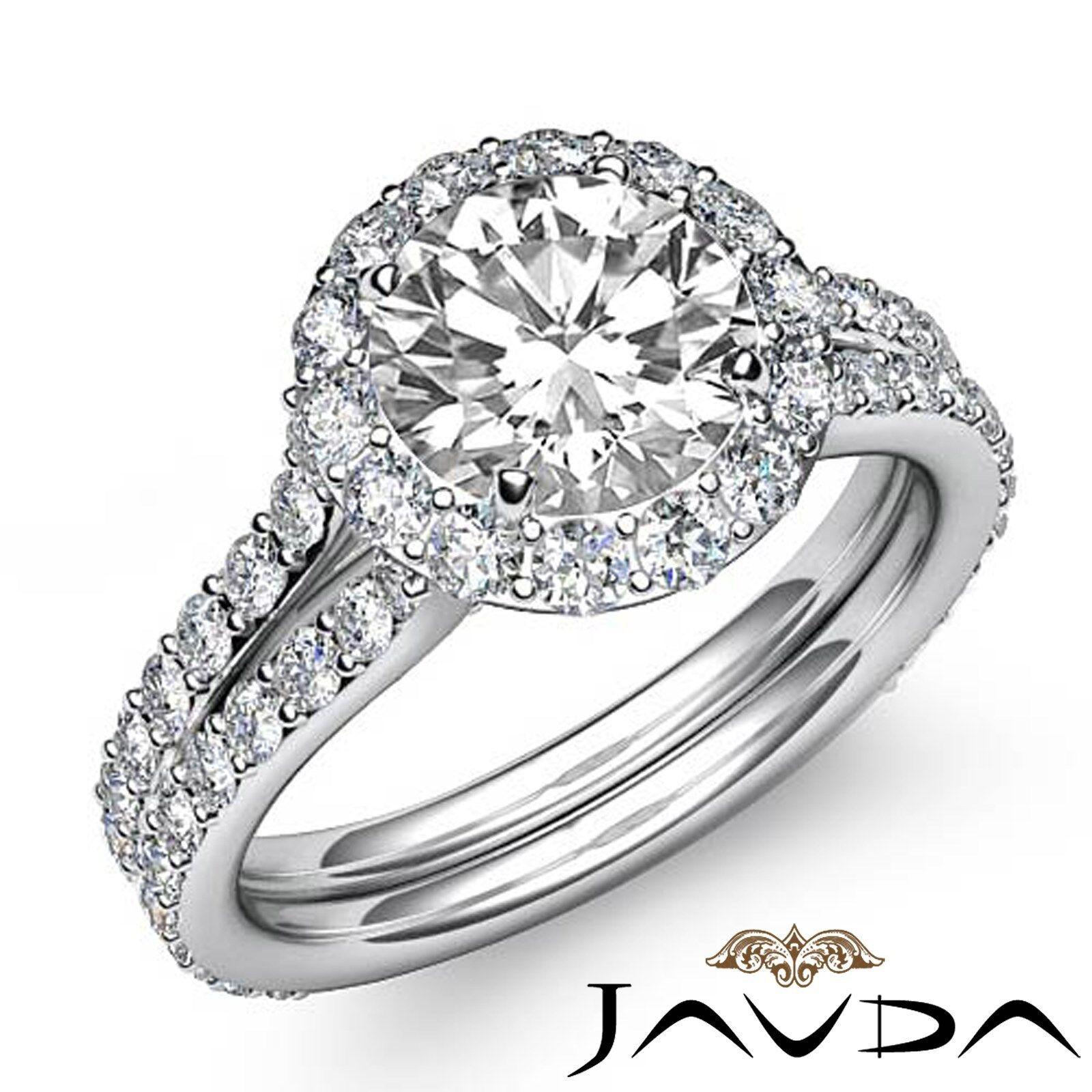 Halo Pave Set Round Diamond Split Shank Engagement Ring GIA I Color SI1 2.8 Ct