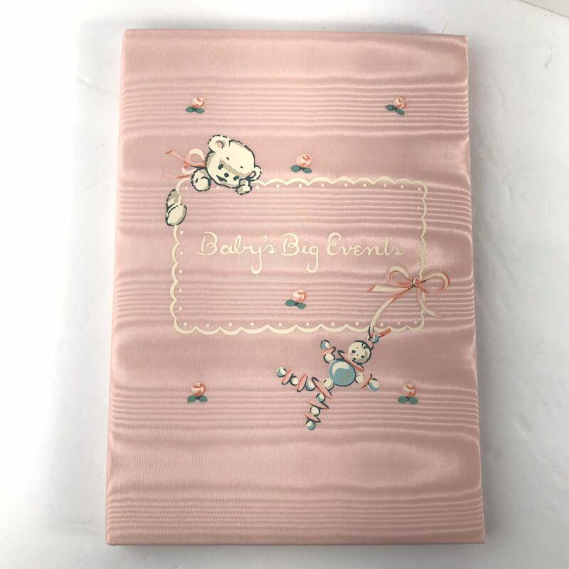 Vintage Pink Satin Padded Keepsake Baby Record Book 1950's In Original Box
