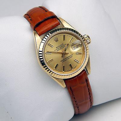 Rolex Presidential Ladies DateJust 18 kt Gold  Alligator Strap Watch #9652