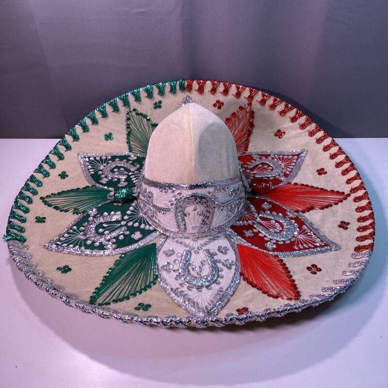 Mexican Sombrero Authentic Vintage Salazar Yepez Velvet Mariachi Hat Horse Shoe