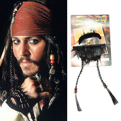 Jack Sparrow Mustache (Pirates of the Caribbean Jack Sparrow Cosplay Pirate Mustache Goatee Costume)