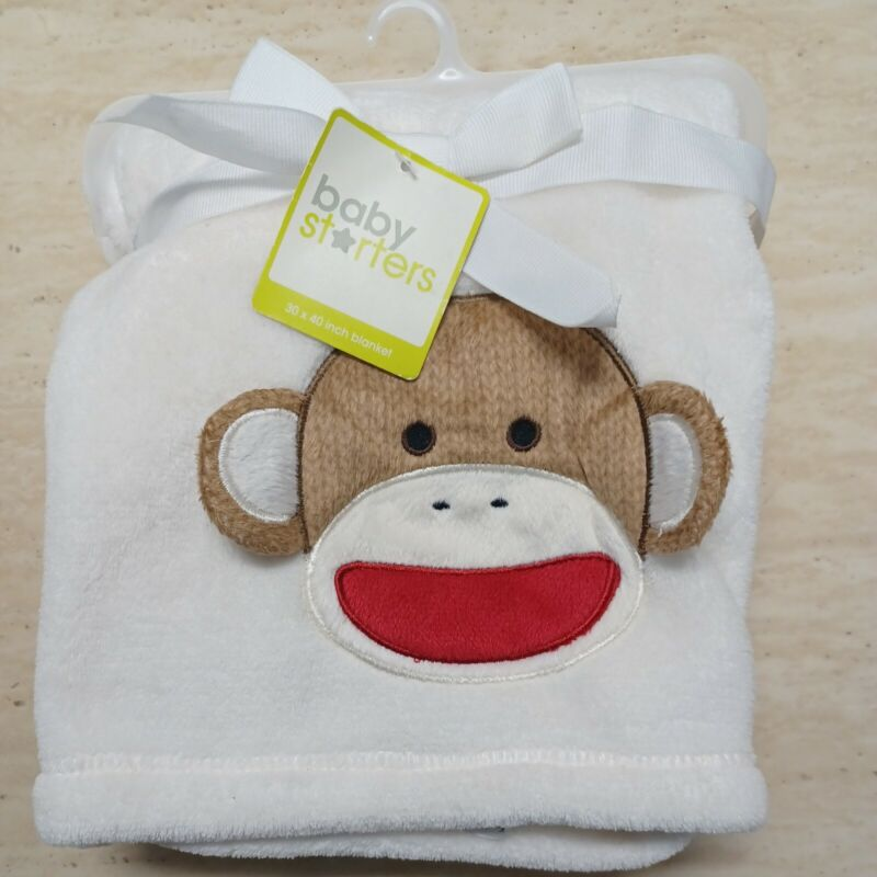 """Baby Starters  Sock Monkey Face Blanket Plush Fleece 30"""" X 40"""" New with Tags"""