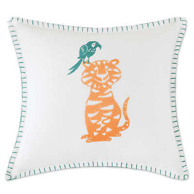 INK+IVY Kids Jacala Embroidered Square Throw Pillow in White