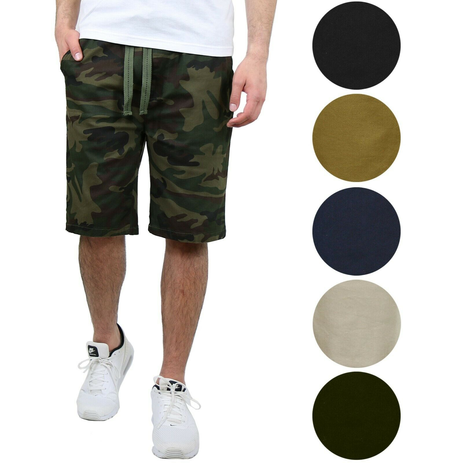 Mens Cotton Stretch Jogger Shorts Twill Lounge Casual Button Pockets Comfort NEW Clothing, Shoes & Accessories