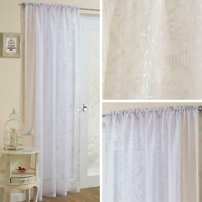 White Voile Curtain Panel Birds Cage Leaf Flocked Slot Top Rod Pocket Voiles (Rod Pocket Panel)