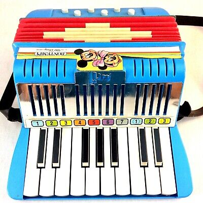Vintage Avril Bontempi Walt Disney Kids Toy Accordion Made in Italy Works GREAT