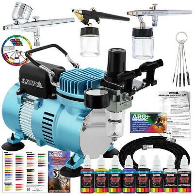 3 Airbrush Professional Airbrushing System Kit - 6 Primary Colors Acrylic Paint