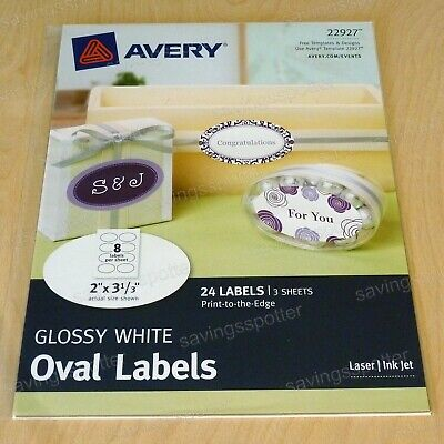 Avery Glossy White Oval Labels 2 X 3-13 Print To The Edge Laserinkjet 24
