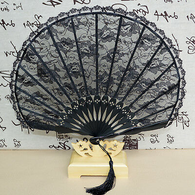Folding Hand Fan - Lady Ladies Vintage Hand-Held Black Bamboo Lace Decorative Folding Fan Kimono