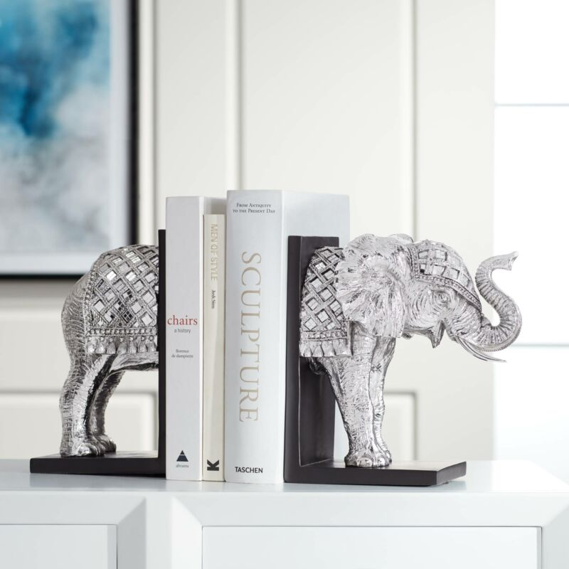 """Elephant 9 1/4"""" High Silver Book Ends"""