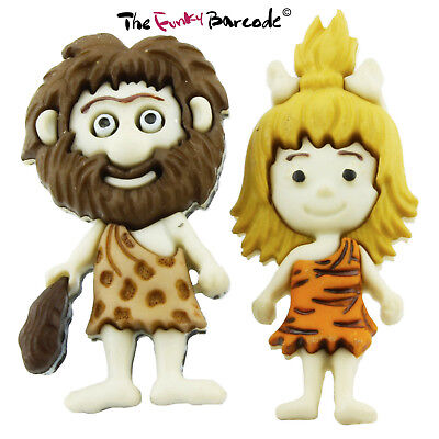 TFB - CAVE MAN & WOMAN STUD EARRINGS Funky Cartoon TV Novelty Fun Cool Kitsch Man Stud