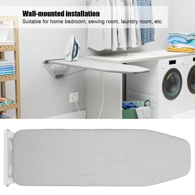 Wall Mounted Ironing Board Fold-up Laundry Iron Board with Heat Resistant Cover