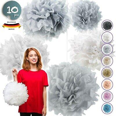 10 Seidenpapier Pompons Set | Deko für Hochzeit - Dekorationen Party