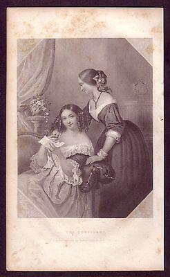1850s Original Antique Fashion Ladies Confidant Tucker Art Engraving Print