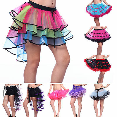 Rainbow Neon RaRa Rave Party Ballet Dance Ruffle Tiered Tutu Skirt Clubwear (Neon Tutus)