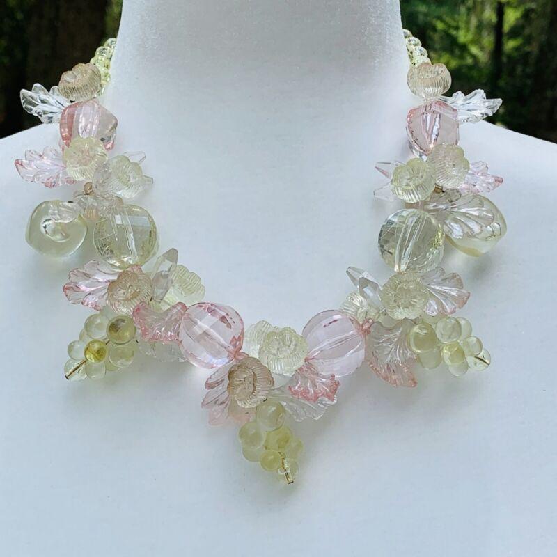 Vintage Fruit Salad Lucite Necklace Pastel Colors Cherries Grapes Flowers Leaves