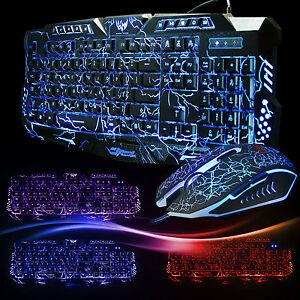 Crack Illuminated Backlight USB Wired Gaming Keyboard And Mouse PC Bundles Set