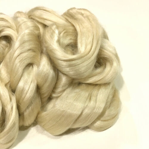 Wild, Undyed, Unbleached Natural Golden Tussah Silk Fiber Top, 1 Pound, Roving