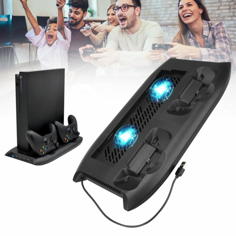 For Xbox One X Console Cooler Cooling Dock Vertical Stand W/ 2 Cooling Fan 4 USB