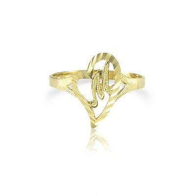 10K Solid Yellow Gold Heart Initial Letter Ring - A-Z Any Alphabet Love Band New