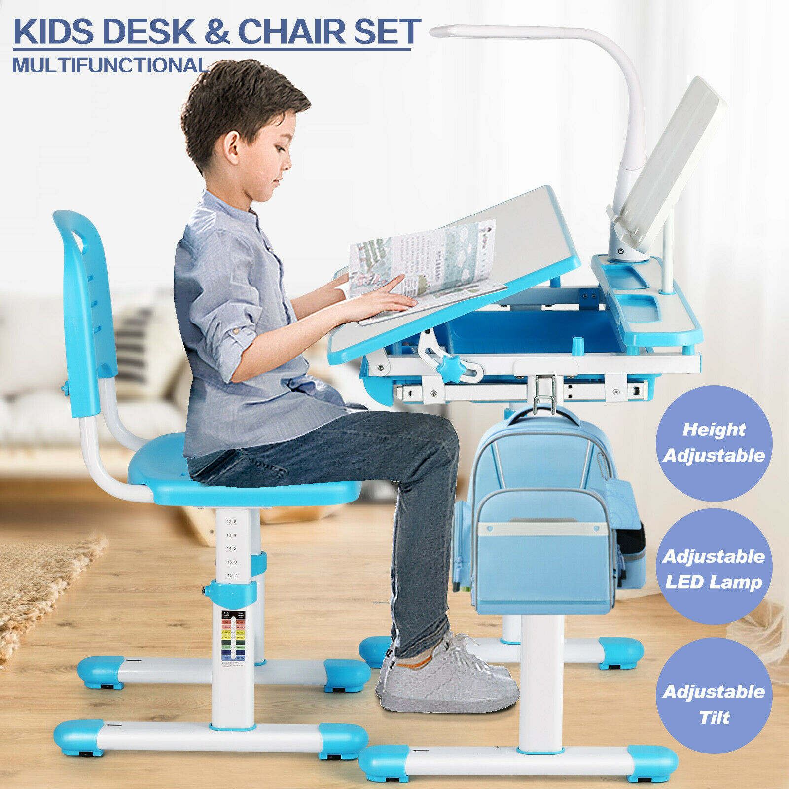 Height Adjustable Kids Study Desk Chair Set Table Lamp Drawe