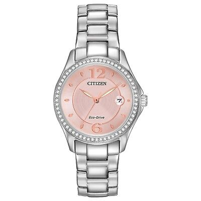 Citizen Eco-Drive Silhouette Women's Pink Dial Silver-Tone 29mm Watch FE1140-86X