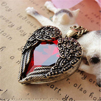 Deco Style Heart - Art Deco vintage retro style heart angel wings necklace