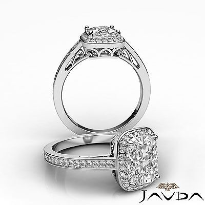 Halo Pave Filigree Cushion Cut Diamond Engagement Ring GIA Certified H SI1 1.5Ct