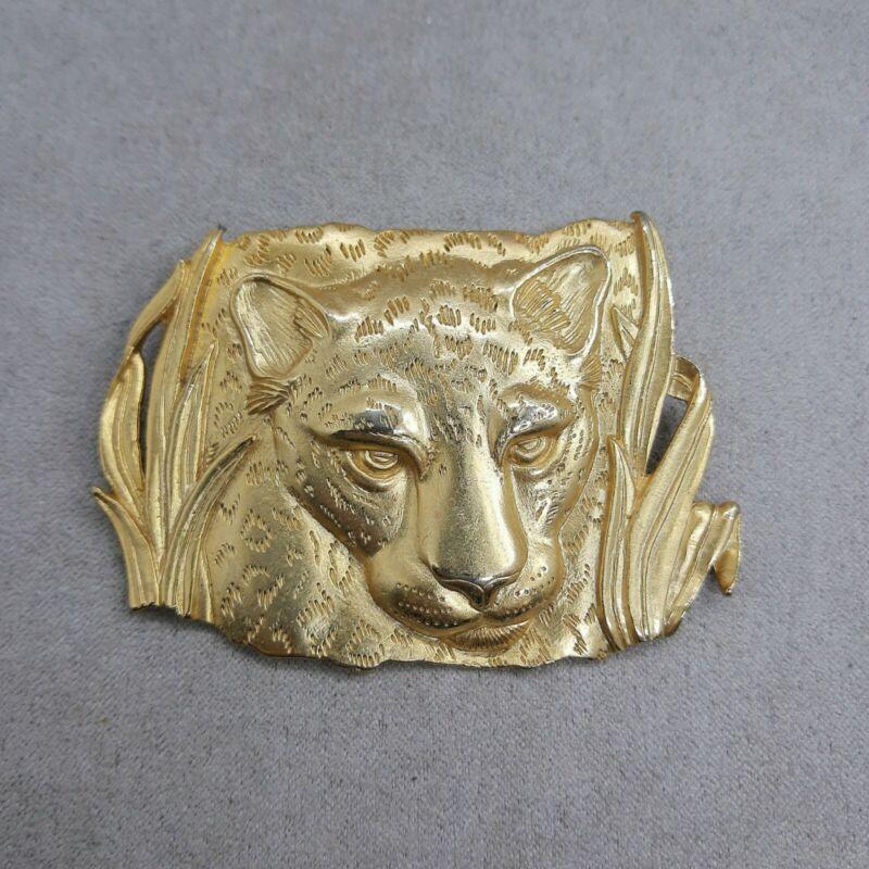 VINTAGE JJ JONETTE LEOPARD BIG CAT WILDLIFE LARGE GOLD TONE STATEMENT BROOCH
