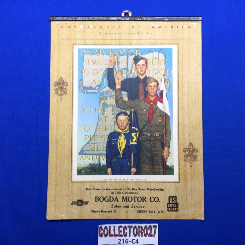 Boy Scout Norman Rockwell On My Honor Calendar Top Bogda Motor Co. Green Bay Wis