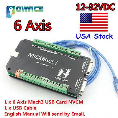 Us6 Axis Nvcm Usb Mach3 Stepper Motor Motion Control Card Breakout Board 125khz