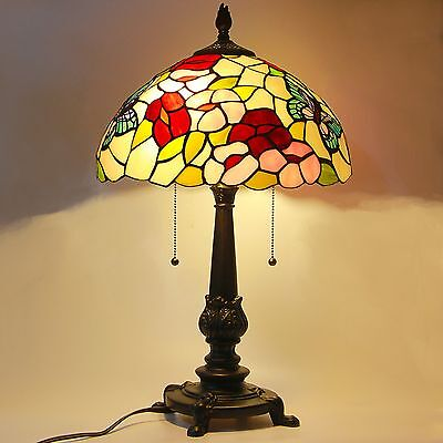Tiffany Style Stained Glass Table Lamp Victorian 2-Light 14