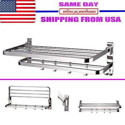 Foldable 304 Stainless Steel Towel Rack Bar Wall Mounted Holder Bathroom (Stainless Steel Towel Shelf)