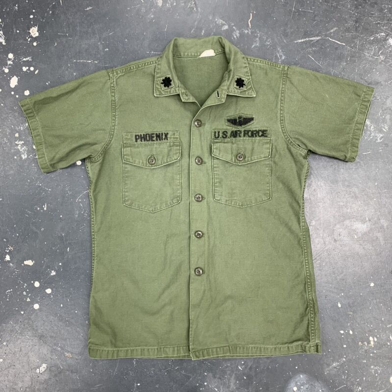 60s USAF Sateen OG107 Field Shirt Vietnam Named Major Wings Pilot Short Sleeve