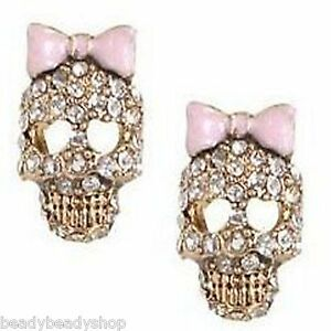 SKULL-With-PINK-BOW-DIAMANTE-EARRINGS-BETSEY-JOHNSON-DESIGN-UK-SELLER