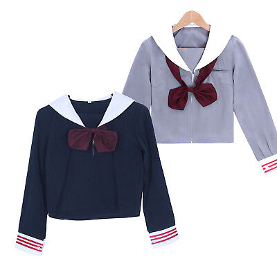 Girl JK School Uniform Blue Japan Sailor Dress Zipper Top Shirt Cosplay Costume - Blue Sailor Costume