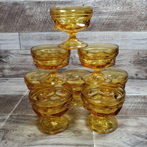 LOT OF 8 AMBER GOLD Sherbet Ice Cream Dessert Glass Bowl Pedestal