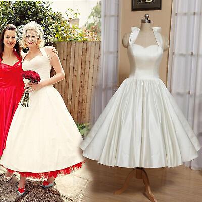 White Tea Length Halter Neck Satin Wedding Dress Vintage 1950S Short Bridal Gown ()