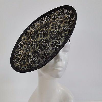 Swan Hat-Women's Kentucky Derby, Dressy, Lace Sinamay Fascinator Black/Gold