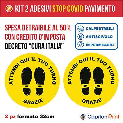 Adesivi Calpestabili distanza sicurezza negozio -Attendi Qui- Kit Stop Covid 2pz