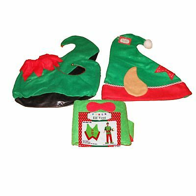 3PC Santa's Helper Elf Suit Christmas Halloween Costume Adult One Size Fit Most - Santa Halloween Costumes