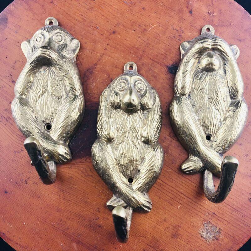 Vtg 3 Brass See Hear Speak No Evil Monkeys Wallhanging Hooks Hanging Whimsical