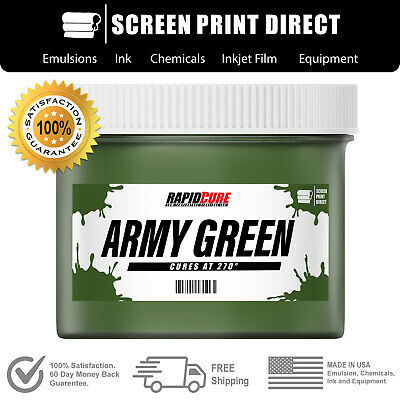 Army Green Plastisol Ink For Screen Printing - Low Temp Cure 270f - 8oz