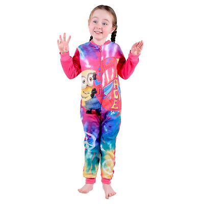 Childrens Girls All In One PJs Despicable Me Minions Peace Pyjamas  Pink Fleece