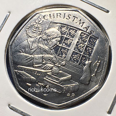2000 IOM Xmas Semi-Diamond Finish 50p Coin with BB die letters