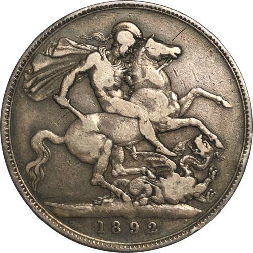 1892 Great Britain UK Crown Silver, Queen Victoria. Fine F Condition